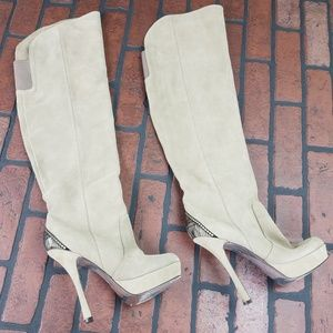 H By Halston Stiletto Over The Knee Suede Boots